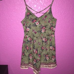 Hollister Shorts - Army green floral print romper.